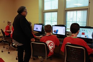 Cecilia Render visits a Tech Corps camp in Elyria, Ohio