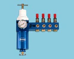 The Nordson Filter Regulator Manifold Assembly Kit comes with everything needed to optimize air-flow supply