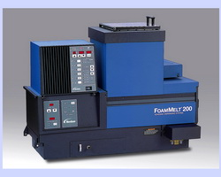 FoamMelt systems for dispensing foamed hot melt materials for bonding, sealing, gluing and gasketing applications