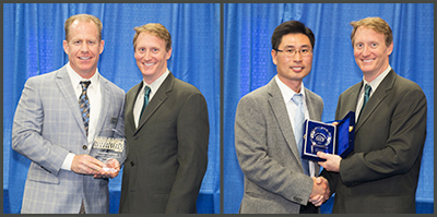Chris Marion and Brian Chung, both from Nordson ASYMTEK, accept awards from Mike Buetow, Circuits Assembly