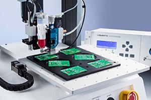 전자 응용 분야용 고속 고정밀 디스펜싱 시스템.