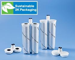 Cartucce Film-Pak® 2K è la cartuccia doppia sostenibile basata su pellicola di Nordson EFD per il confezionamento e l'erogazione di fluidi bicomponenti industriali.