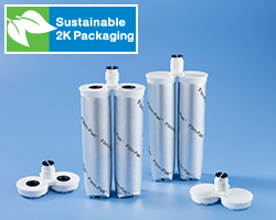 2K Film-Pak® カートリッジは、持続可能性に貢献するノードソン EFD のフィルムベースのデュアルカートリッジであり、工業用 2 液性液剤のパッケージングと塗布に適しています。