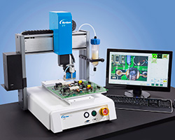 The 3-axis EV Series industrial automated fluid dispensing robot features proprietary DispenseMotion™ software and a simple vision pencil camera for easy setup and programming of precise fluid applications. This tabletop or desktop robot also easily integrates into any manufacturing operation.
