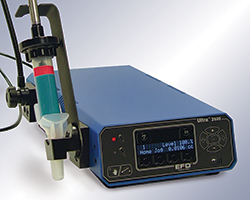 Ultimus IV positive displacement fluid dispenser is ideal for applying uniform amounts of two-part epoxies and fluids that change viscosity over time.