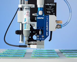 The Liquidyn P-Jet SolderPlus pneumatic jetting valve is designed specifically for non-contact dispensing with Nordson EFD SolderPlus solder paste.