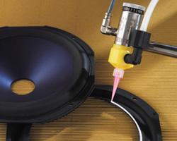 Nordson EFD 752 Valve Dispensing Adhesive on a Speaker