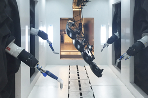 Powder coating with robots